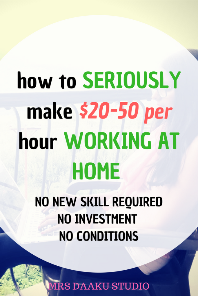 Are you looking to work from home? Then, your search ends here. This post tells you how to SERIOUSLY make $20-50 per hour without selling your soul. Work at home jobs | work at home mom | stay at home jobs for moms | stay at home jobs that pay well
