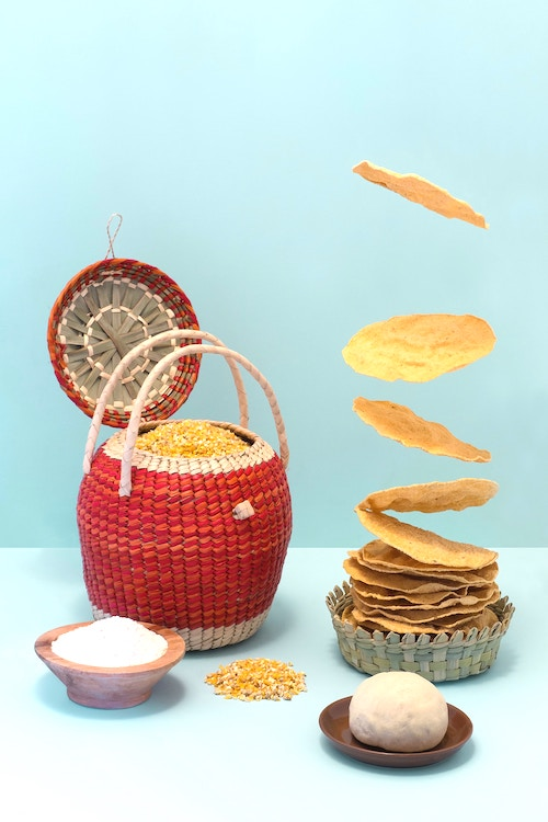 wicker baskets with food in it - graphic used for blog post on  how can kids make money online