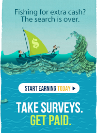 water with boat with a dollar sign h iting to make money with surveys