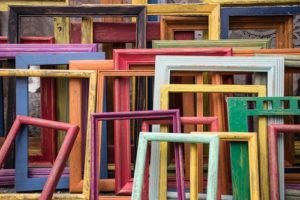 wooden frames in different colors