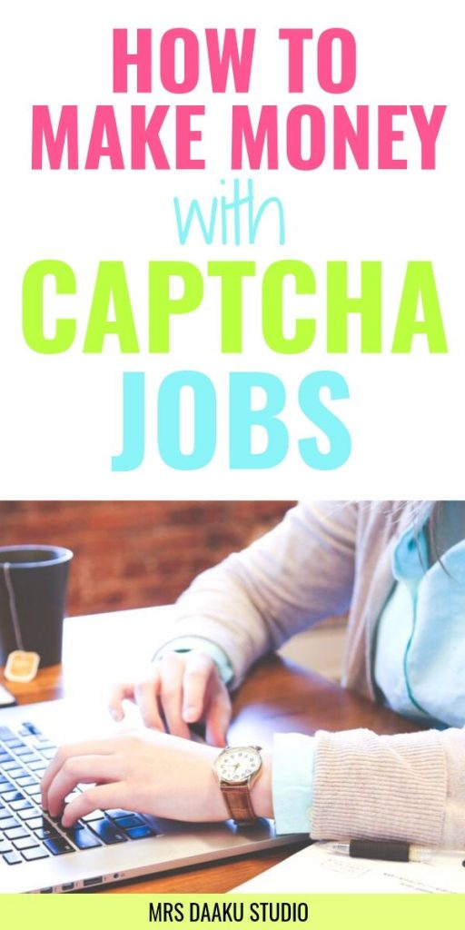 How to make money with captcha jobs - Pinterest graphic - lady with hands on a laptop