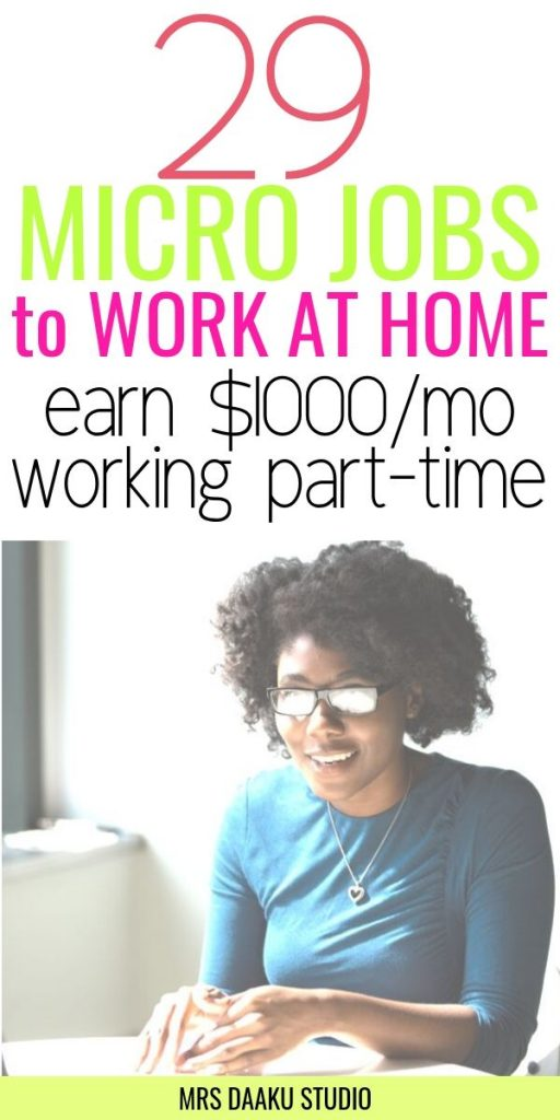 Legitimate work at home micro jobs from home - Lady on a computer - Pinterest graphic