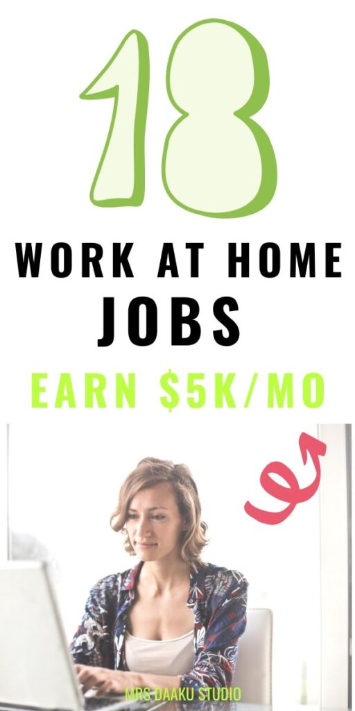 entry level work at home jobs to make money online - pinterest graphic
