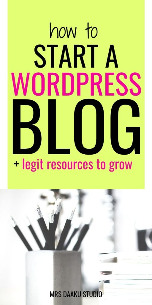 how to start a wordpress blog with hostgator - pinterest graphic