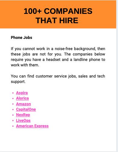100+ work at home job companies
