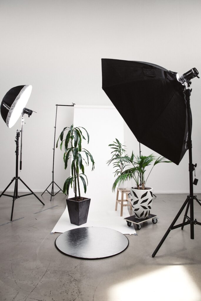 a photography studio and lights on set of plants - graphics for blog post on sell photo apps