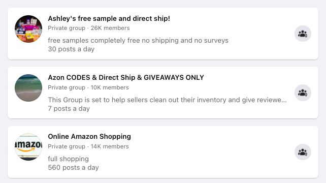 facebook groups for amazon direct ship freebies